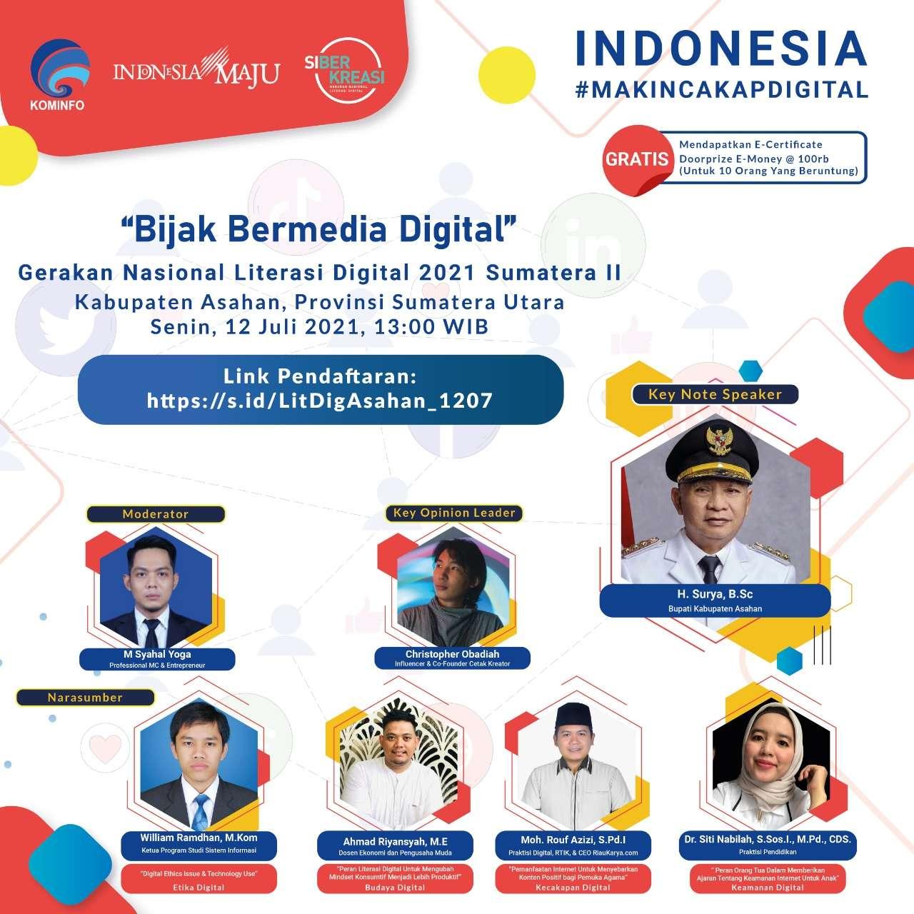 Gerakan Nasional Literasi Digital 2021 Kabupaten Asahan Dengan Tema Bijak Bermedia Digital