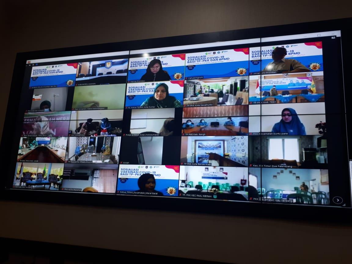 DINAS KOMUNIKASI DAN INFORMATIKA MEMFASILITASI KEGIATAN VIDEO CONFERENCE TENTANG SOSIALISASI VAKSINASI COVID-19 REGIONAL I